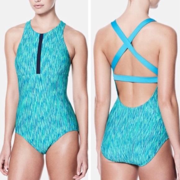 Nike women Swim Rush Heather Highneck One-Piece 844ac1cf9e